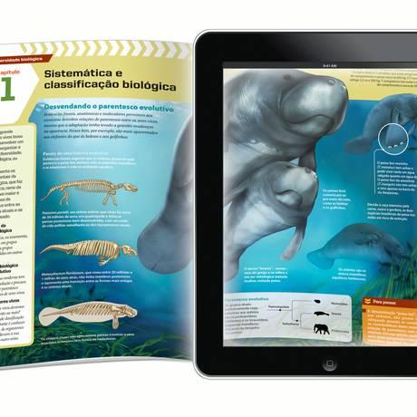 O livro migrou para o tablet. Montagem mostra versão digital de didático da Editora Moderna que será inscrito em programa do MEC Foto: Divulgação