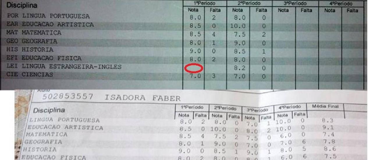 Imagem postada no Facebook mostra que 1º bimestre não tinha nota de inglês Foto: Reprodução