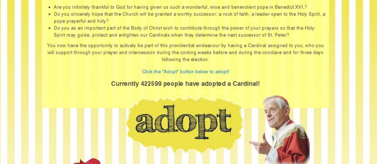 O site 'Adote um cardeal' pedem que fiéis rezem por religiosos no conclave Foto: Reprodução