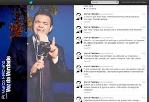Reprodução do Twitter do pastor Marco Feliciano