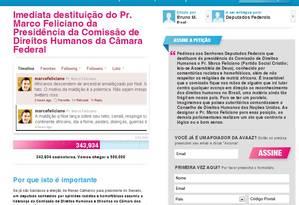 Petição eletrônica no site Avaaz Foto: Reprodução