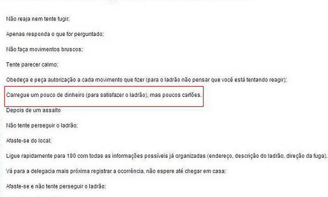Reprodução de dicas da Secretaria de Segurança da Bahia Foto: Reprodução