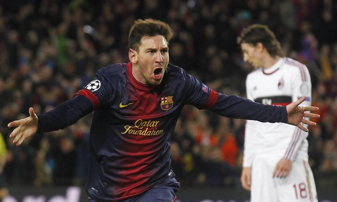 Messi vibra com um dos gols marcados contra o Milan. Atacante disse que o Barcelona precisava de uma grande atuação como a de terça-feira Foto: Albert Gea / Reuters
