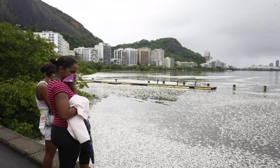 Mulheres observam a mortandade de peixes na Lagoa Rodrigo de Freitas Foto: Hudson Pontes / Agência O Globo