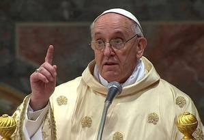O Papa Francisco em sua primeira homilia: alerta à Igreja Foto: REUTERS TV / REUTERS