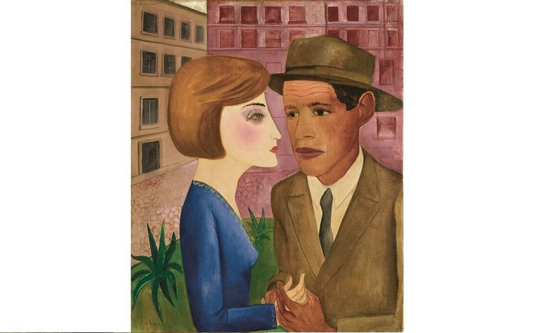 Óleo sobre tela 'Encontro' (1924), de Lasar Segall. O autorretrato é o primeiro e mais forte símbolo da integração de Segall à vida brasileira Foto: Museu Lasar Segall / Divulgação