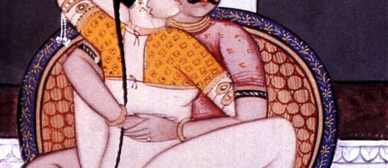 Século XIX. Casal indiano na posição de lótus; diferenças entre homens e mulheres Foto: Latinstock