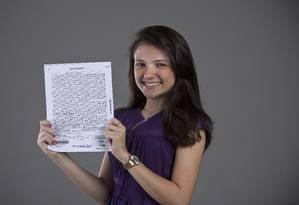 Yárina Rangel atingiu pontuação máxima na redação do Enem. Seu texto não continha erros de língua portuguesa Foto: Paula Giolito / O Globo