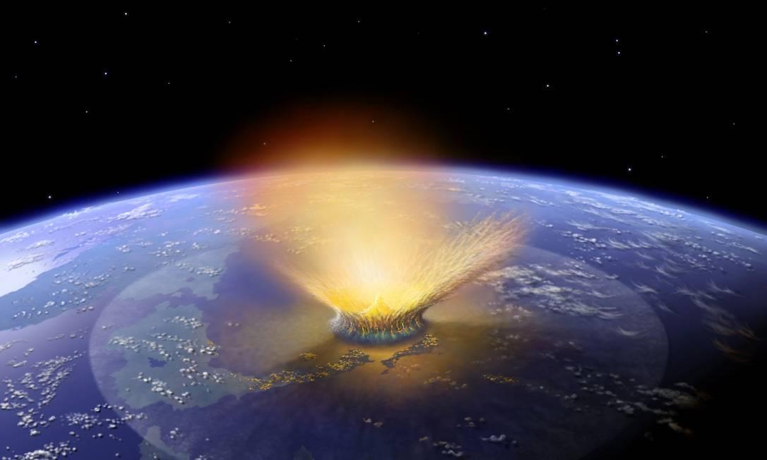 Ilustração mostra como seria impacto gerado pelo corpo celeste que atingiu a Terra e teria extinto os dinossauros Foto: AFP
