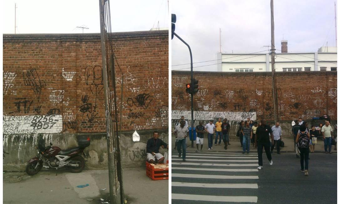 O poste danificado: pedestres temem que o mobiliário desabe Foto: Fotos do leitor Marcus Vieira / Eu-Repórter