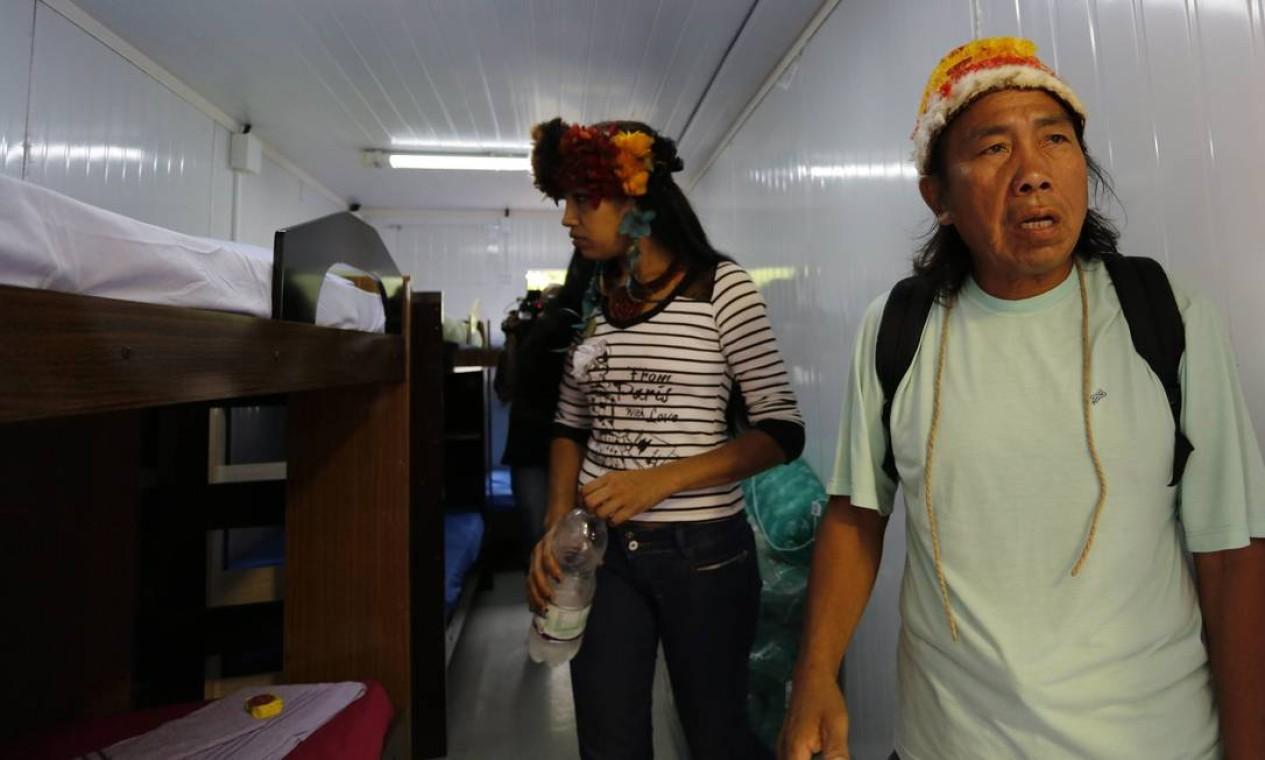 O novo alojamento dos indígenas em Jacarepaguá, na Zona Oeste Foto: Mônica Imbuzeiro / Agência O Globo