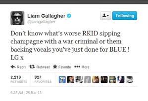 Liam Gallagher critica o irmão Noel no Twitter Foto: Reprodução