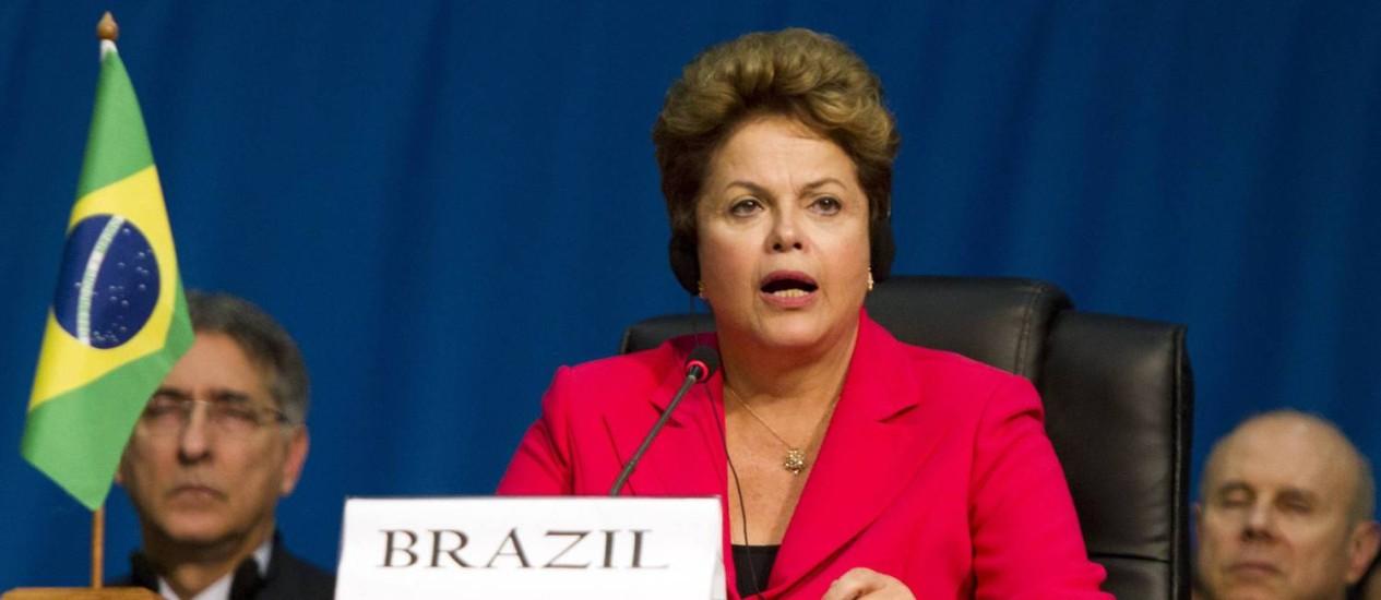 Dilma discursa na reunião de cúpula dos Brics Foto: ROGAN WARD / Reuters