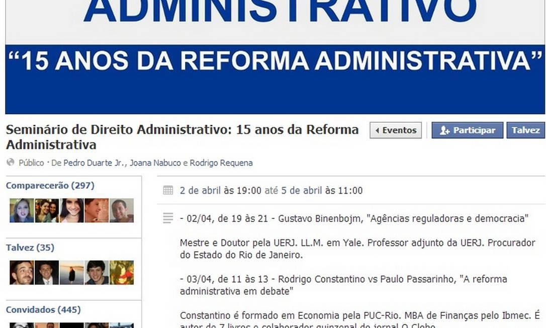 Página de seminário no Facebook teve comentários de professores apagados após nota do GLOBO Foto: Reprodução