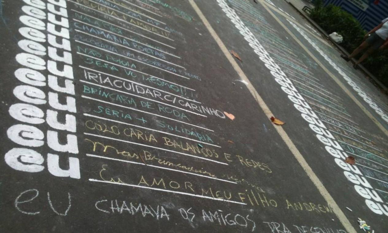 """Na área isolada para as obras do metrô, quem passou pelo Leblon pôde preencher a frase """"Se essa rua fosse minha..."""" Foto: Divulgação/NaRua"""