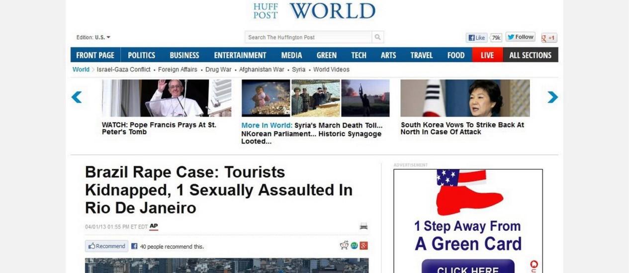 Notícia sobre o estupro de uma turista americana numa van no Rio circulam em agências internacionais Foto: Internet / Reprodução