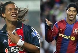 Ronaldinho no PSG, onde iniciou a carreira na Europa, e no Barcelona, clube em que se tornou o melhor do mundo Foto: AP e AFP