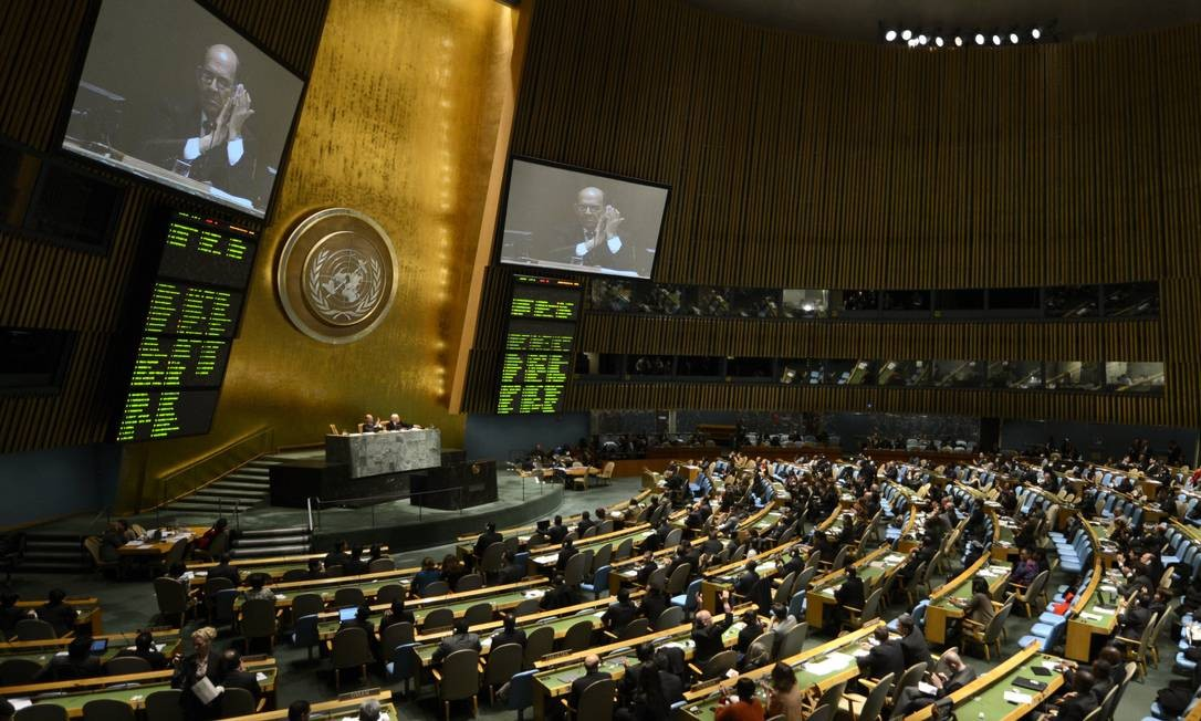 Delegados da ONU durante Assembleia Geral para regular mercado de armas convencionais Foto: TIMOTHY A. CLARY / AFP