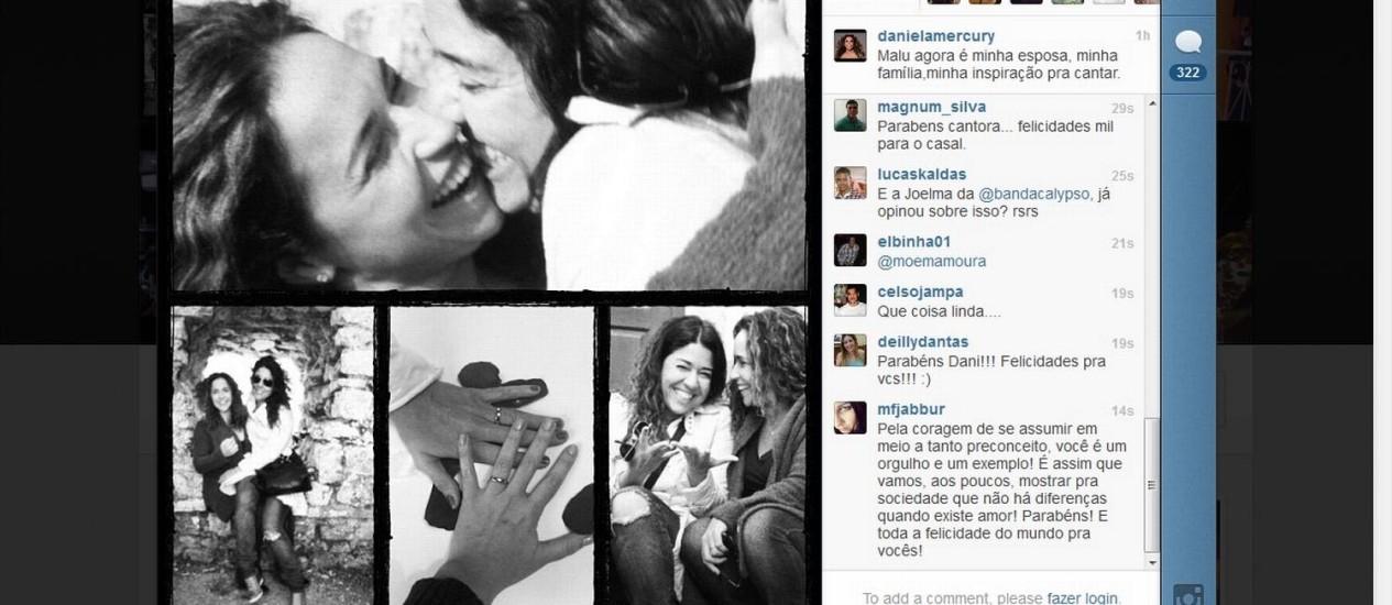 Imagem publicada no Instagram de Daniela Mercury Foto: Reprodução