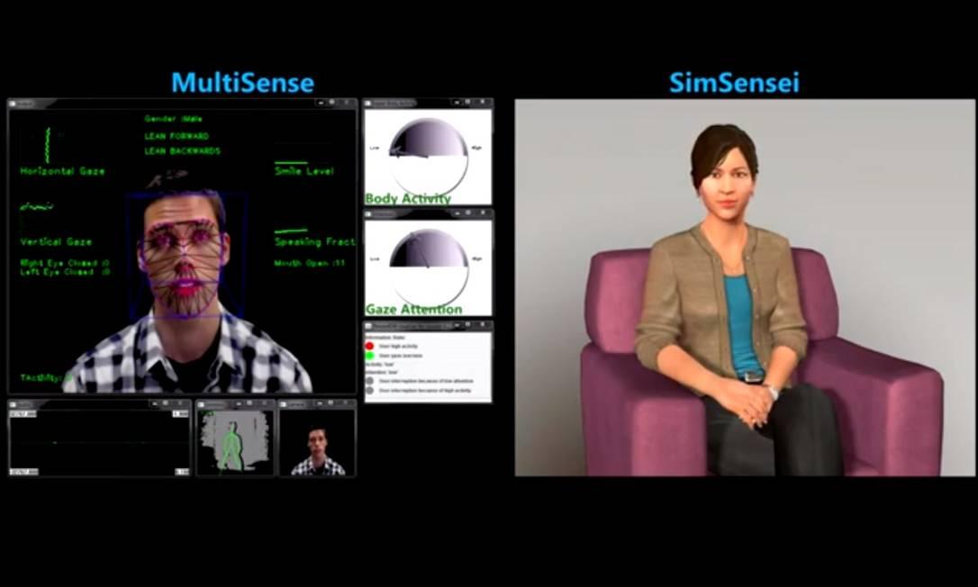 Terapeuta virtual conversa com paciente e avalia expressões corporais Foto: Reprodução
