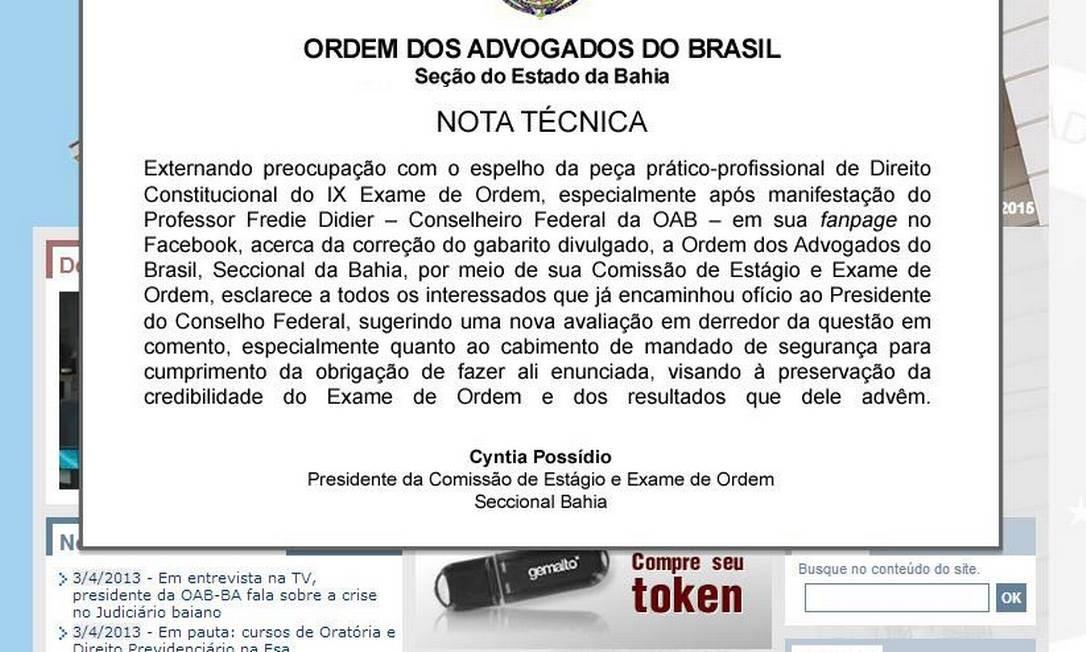 Site da OAB-BA manterá até esta sexta-feira (05) manifesto contra gabarito do IX Exame de Ordem Foto: Reprodução
