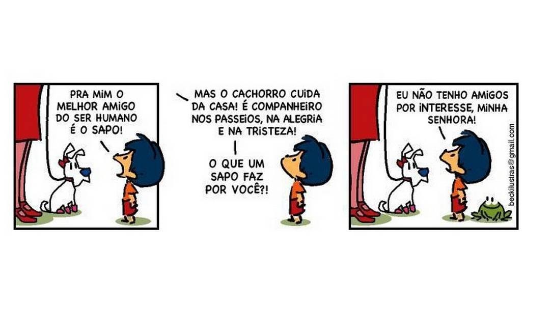 Armandinho lembra a contestação de outra personagem de HQ, Mafalda. Nesta tirinha, aparece o sapo, um dos personagens secundários Foto: Facebook
