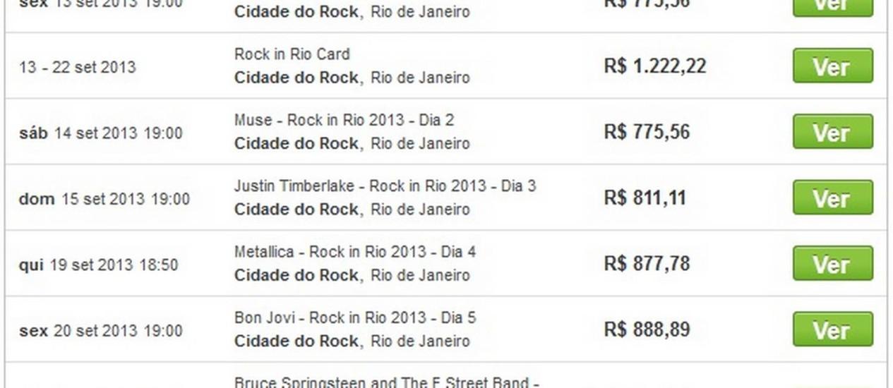 Site ViaGoGo tem anúncio de ingresso para Rock in Rio que ultrapassa R$ 1000 Foto: Reprodução