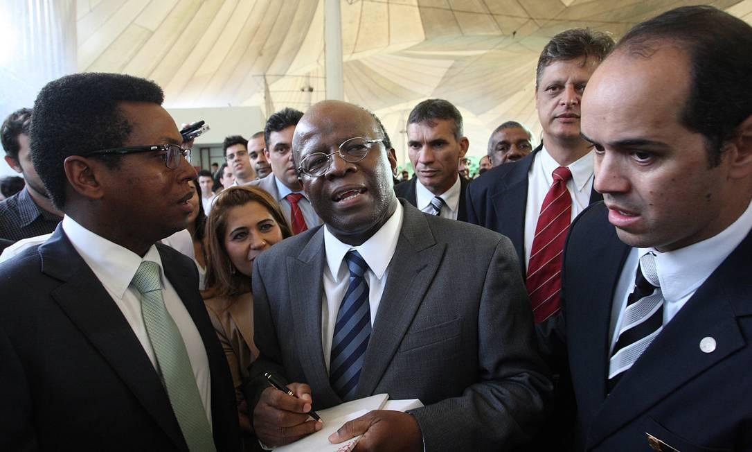 O presidente do STF, Joaquim Barbosa, participa de aula magna na Universidade de Brasília Foto: André Coelho / O Globo