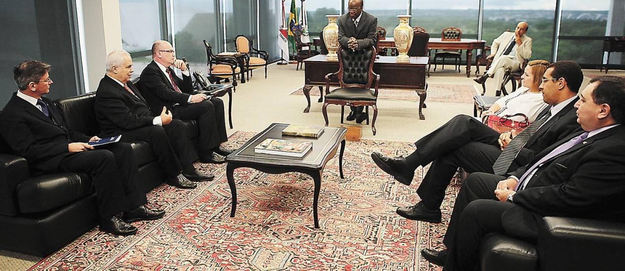 O presidente do STF recebe em audiência os presidentes da AMB, Anamatra e da Ajufe. Foto: Divulgação/STF
