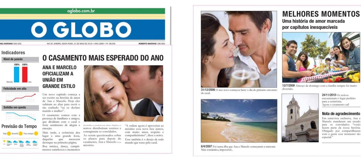 Lembrança de casamento. Manchete do jornal tem envelope com a história dos noivos editada<252> Foto: Terceiro / Agência O Globo