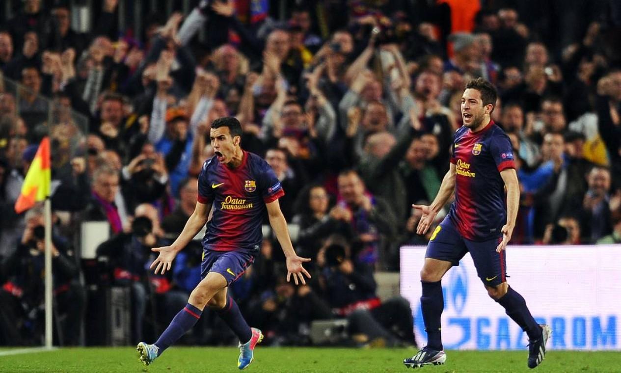 Pedro, do Barcelona, comemora o gol de empate da equipe contra o Paris Saint-Germain, que classificou os espanhóis para a semifinal da Liga Foto: Manu Fernandez / AP