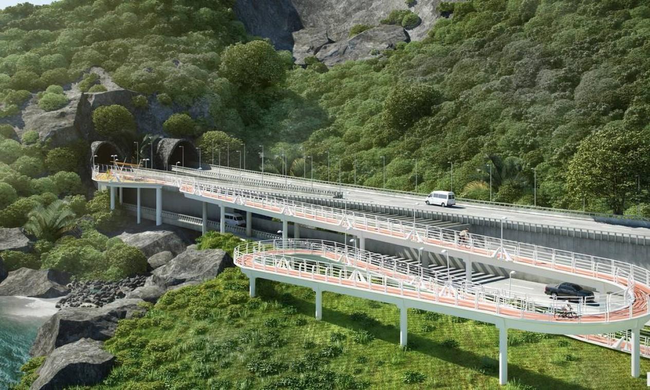 Elevado do Joá vai ser duplicado, a obra deve custar R$ 457,9 milhões e deve ficar pronta em dois anos, segundo a prefeitura . Foto: Divulgação