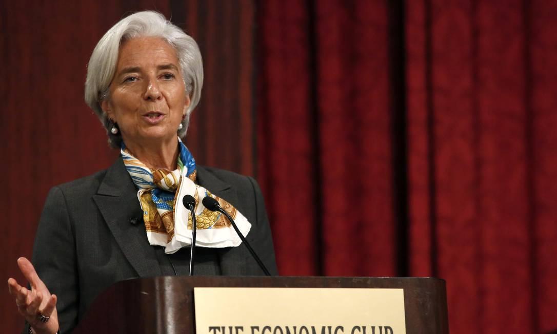 A diretora-gerente do FMI, Christine Lagarde, discursa no Economic Club de Nova York Foto: BRENDAN MCDERMID / REUTERS