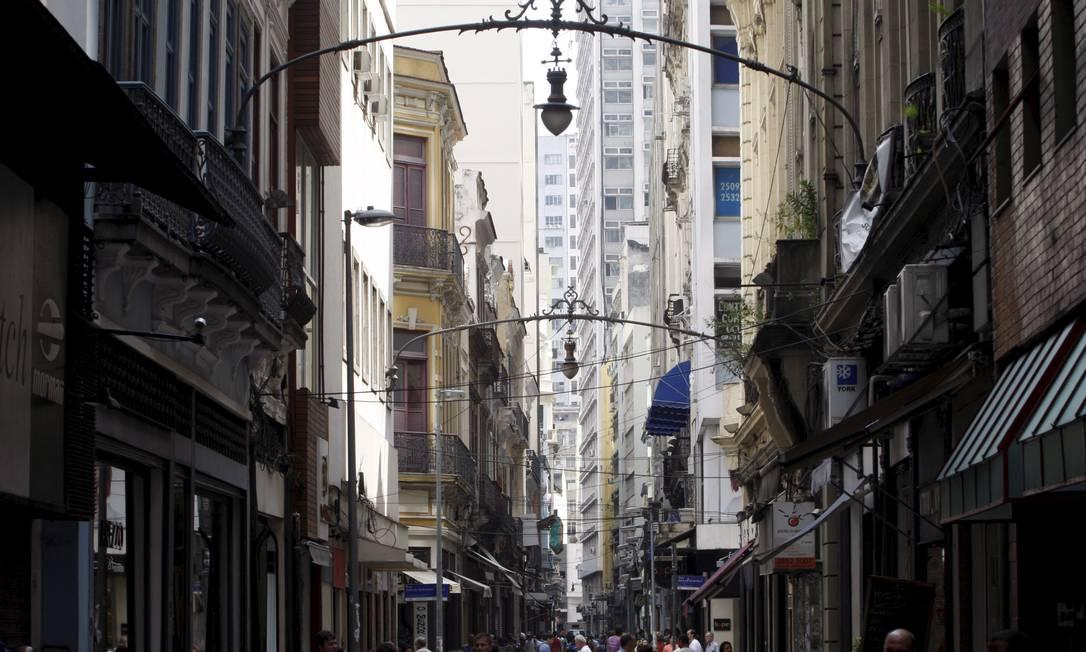 A Rua Gonçalves Dias, no Centro, onde Tiradentes foi preso Foto: Gustavo Stephan / Gustavo Stephan