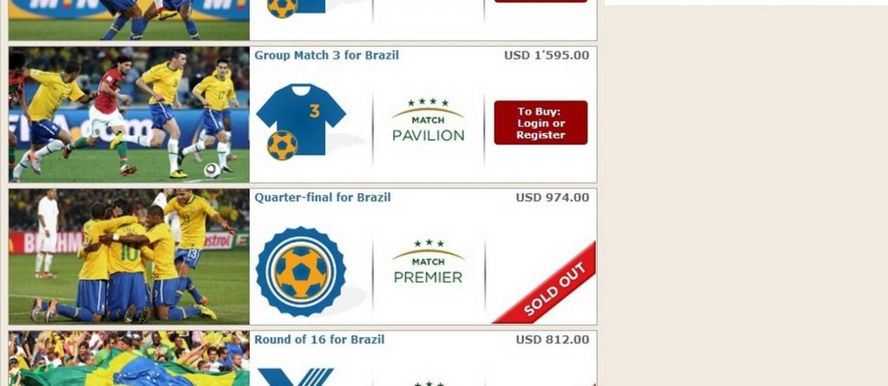 Pacotes vips de ingressos já à venda no site da Fifa Foto: Reprodução
