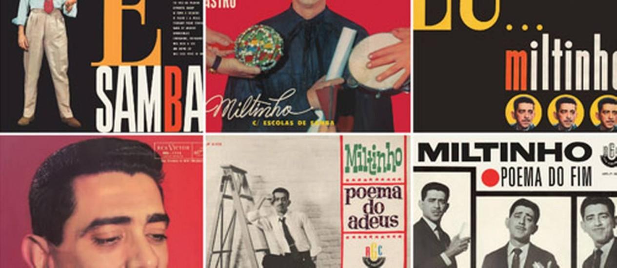 Alguns dos discos de Miltinho reunidos em caixa Foto: Montagem
