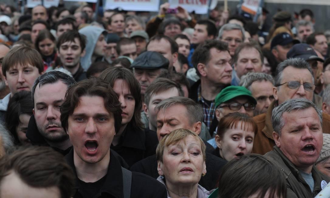 O evento relembra os protestos do dia de posse do novo mandato de Vladimir Putin, em 2012 Foto: ANDREY SMIRNOV / AFP