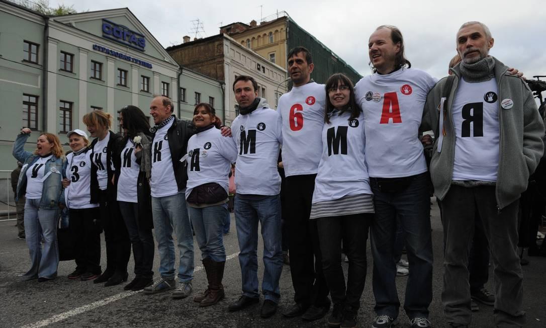 Dos que foram presos em 2012, mais de 20 pessoas permanecem encarcerados e enfrentam processos sobre o envolvimento nas manifestações Foto: ANDREY SMIRNOV / AFP