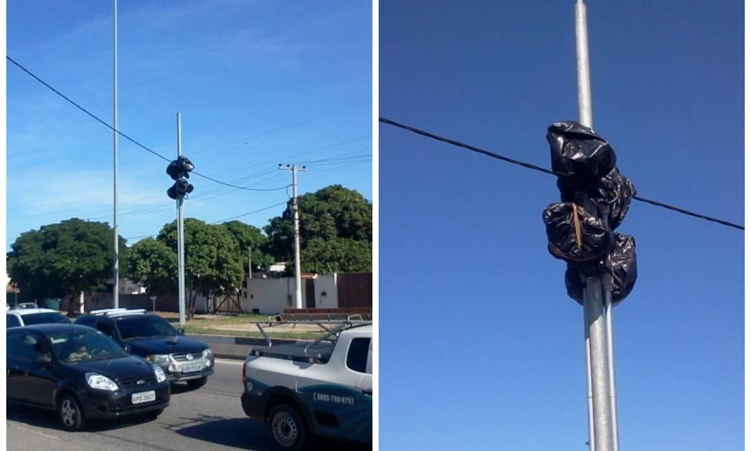 O radar coberto com saco plástico, no Baixo Grande: moradores dizem que equipamento facilita acidentes - Foto: Fotos da leitora Renata Cristiane / Eu-Repórter