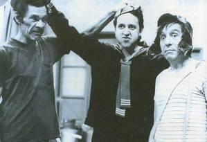 Lembrança: Ramón Valdés (Seu Madruga), Carlos Villagrán (Kiko) e Roberto Gómez Bolaños (Chaves) Foto: Arquivo pessoal