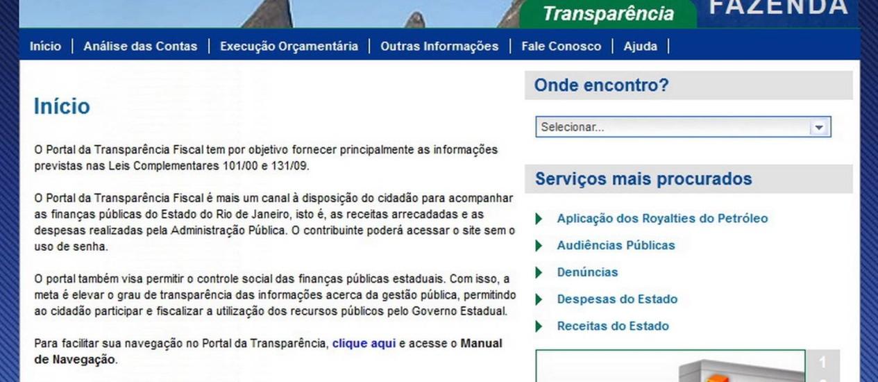 Portal da transparência do governo do Rio Foto: Reprodução da Internet