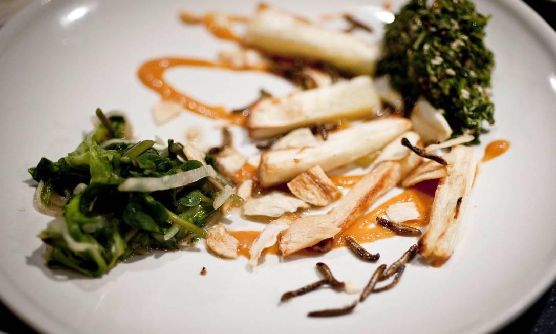 Minhocas com fritas são servidas no restaurante nova-iorquino Brooklyn Kitchen durante degustação especial Foto: Latinstock