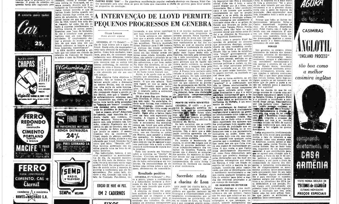 """Alto da primeira página do """"Estado"""" mostra a vitória da Revolução Cubana, em 1959 Foto: Agência O Globo"""