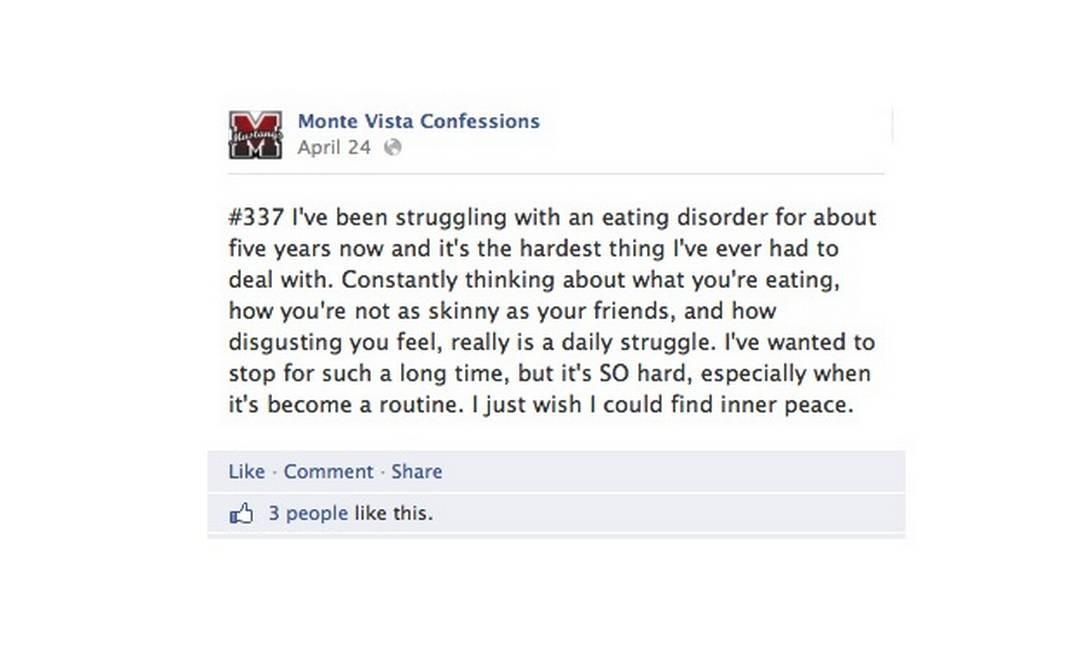 Em página de escola americana, estudante anônima confessa ter transtorno alimentar Foto: Reprodução do Facebook