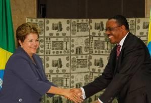 Dilma durante encontro com o primeiro-ministro da Etiópia, Hailemariam Desalegn Foto: Presidência da República / Roberto Stuckert Filho
