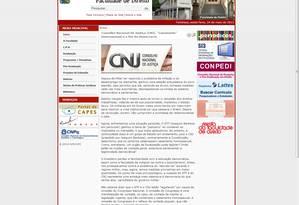 Texto foi publicado na página da Faculdade de Direito Foto: Reprodução / Internet