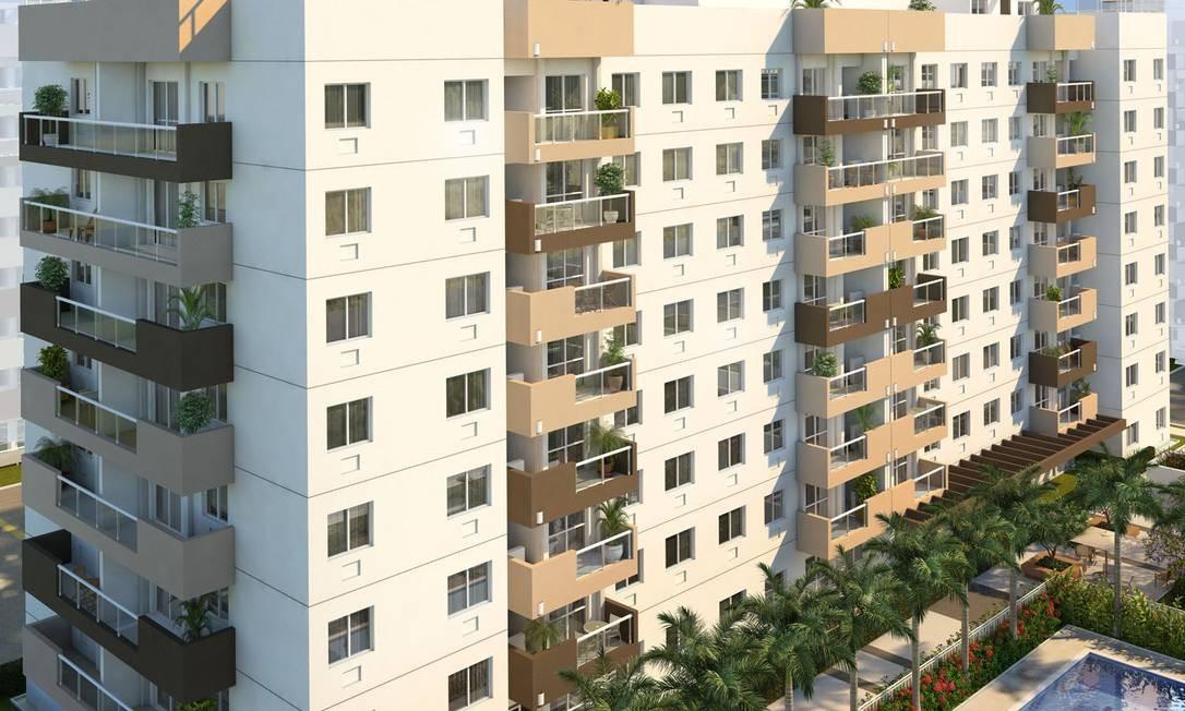 Fachada Luar do Pontal, da Even, segundo empreendimento a ser erguido no novo bairro, com 560 unidades Foto: Divulgação