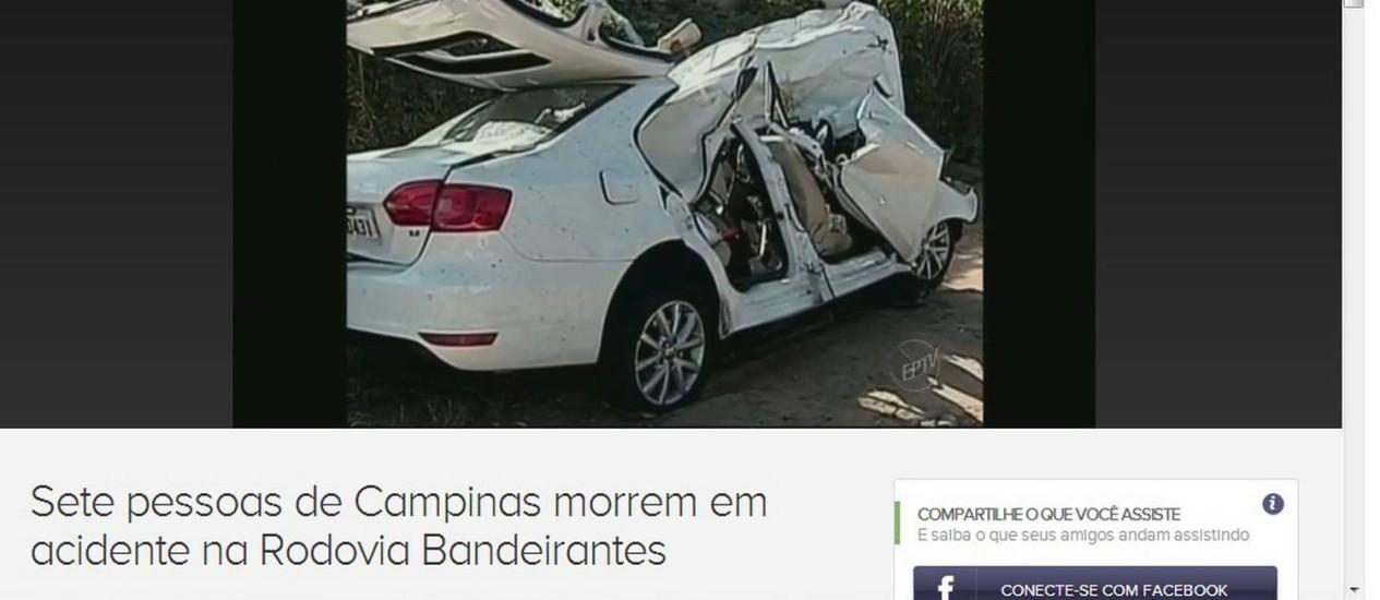 Carro onde estavam oito pessoas, entre elas uma criança e duas adolescentes, foi atingido de frente por outro automóvel na contramão Foto: Reprodução de imagem / EPTV/Afiliada TV Globo