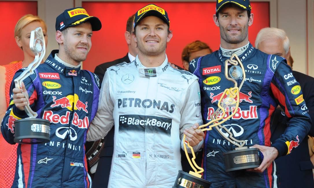 Sebastian Vettel, Nico Rosberg e Mark Webber formaram o pódio em Mônaco. Tom Gandolfini / AFP