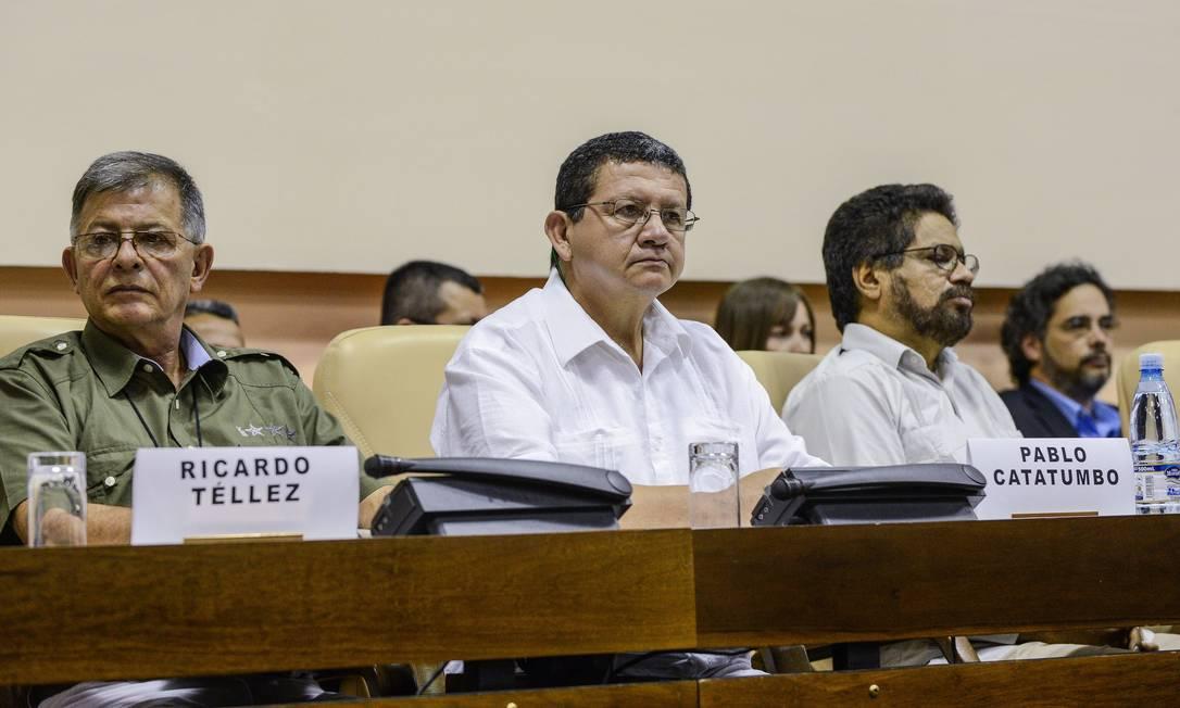 Membros da negociação de paz com as Farc durante convenção em Havana Foto: ADALBERTO ROQUE / AFP
